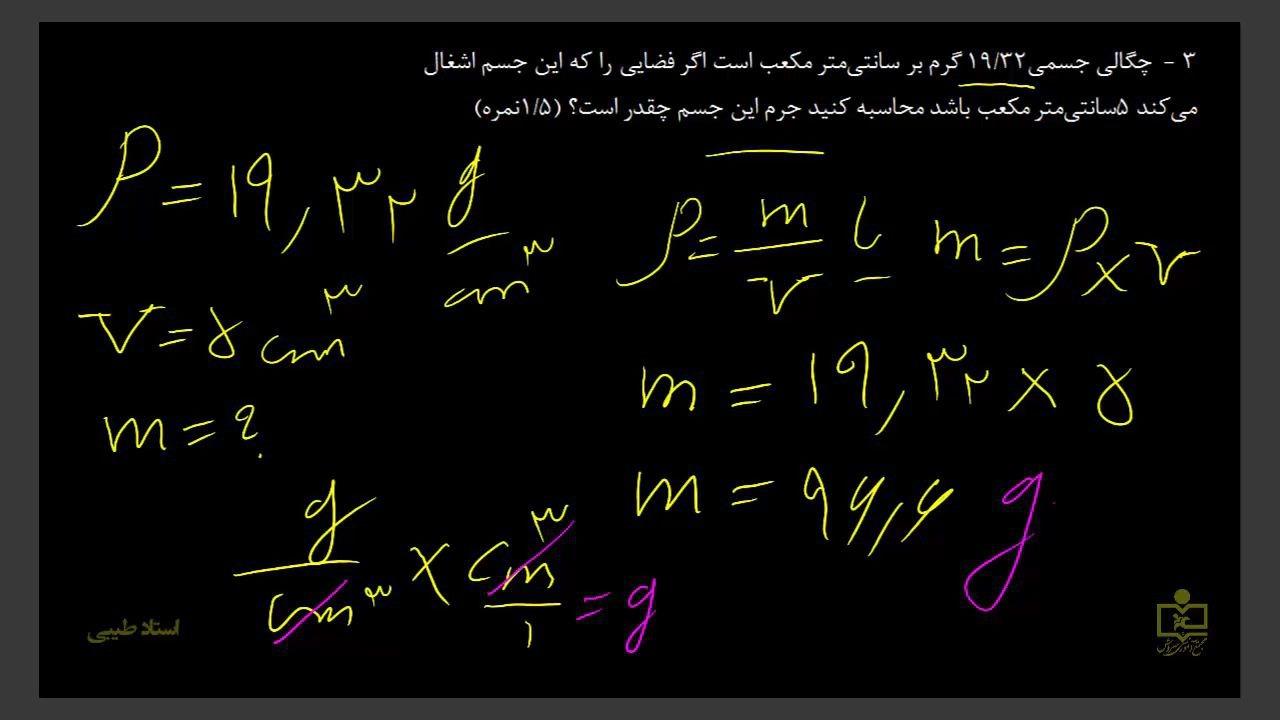 چگالی-هفتم-تمرین-سه-دبیرستان-سروش